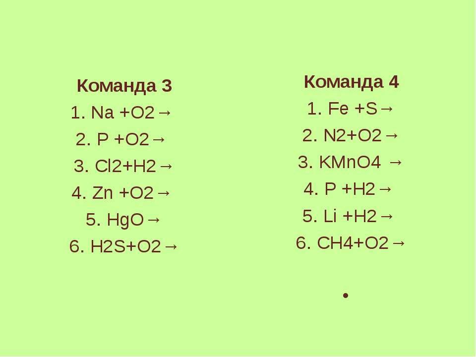 Команда 3 1. Na +O2→ 2. P +O2→ 3. Cl2+H2→ 4. Zn +O2→ 5. HgO→ 6. H2S+O2→ Коман...