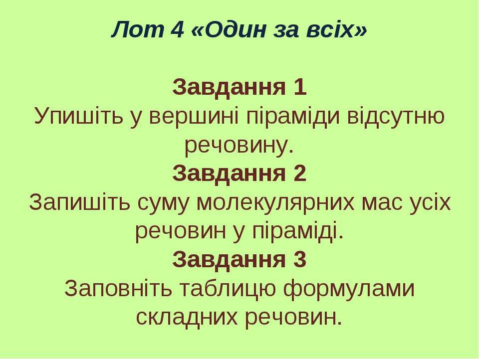 Лот 4 «Один за всіх» Завдання 1 Упишіть у вершині піраміди відсутню речовину....