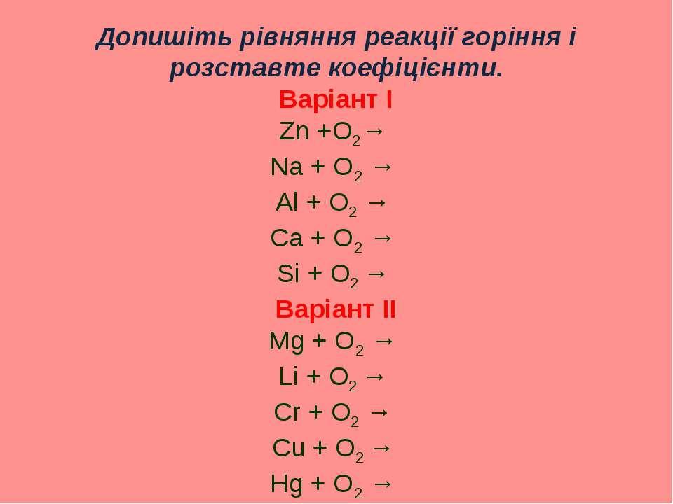 Допишіть рівняння реакції горіння і розставте коефіцієнти. Варіант І Zn +O2→ ...