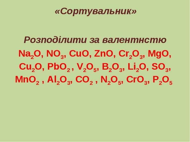 «Сортувальник» Розподілити за валентнстю Na2O, NO3, CuO, ZnO, Cr2O3, MgO, Cu2...