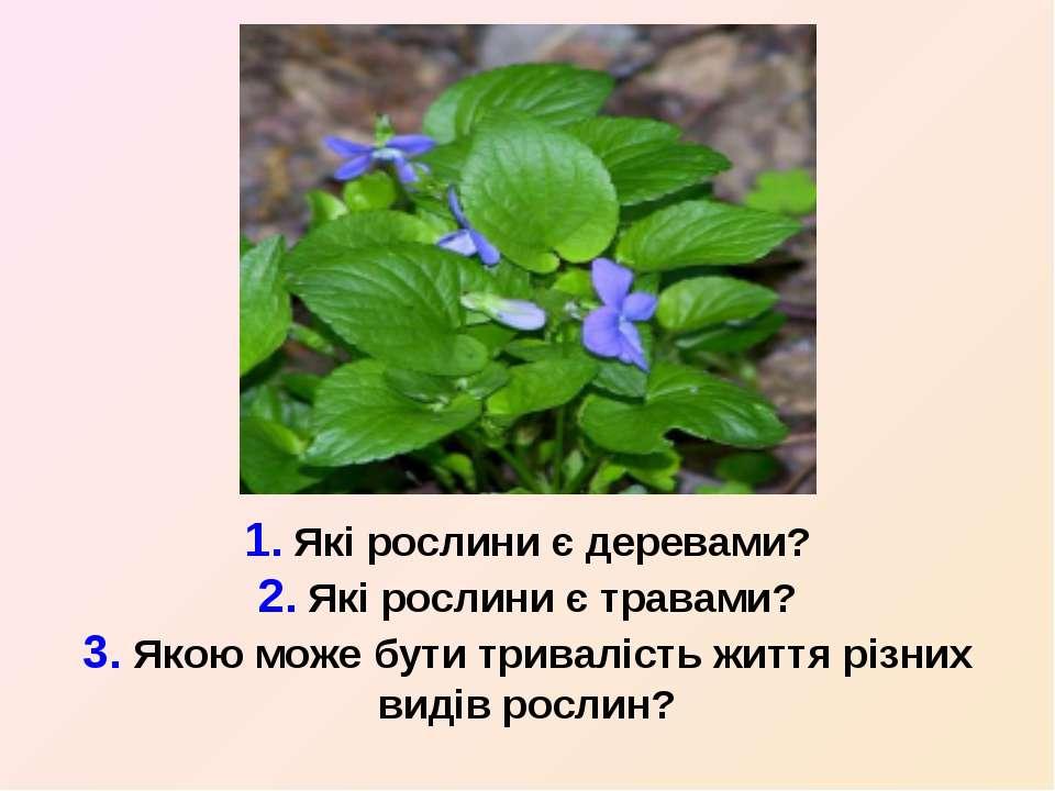 1. Які рослини є деревами? 2. Які рослини є травами? 3. Якою може бути тривал...