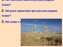 1. Яке значення мають рослини родини Злаки? 2. Які риси характерні для рослин...