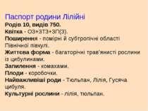 Паспорт родини Лілійні Родів 10, видів 750. Квітка- О3+3Т3+3П(3). Поширення...
