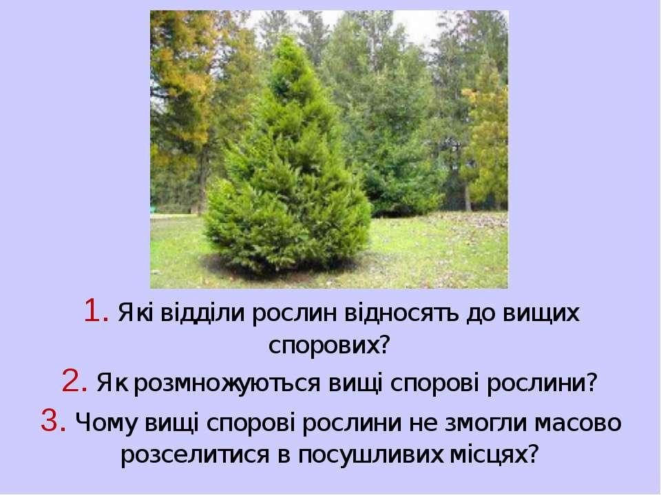 1. Які відділи рослин відносять до вищих спорових? 2. Як розмножуються вищі с...
