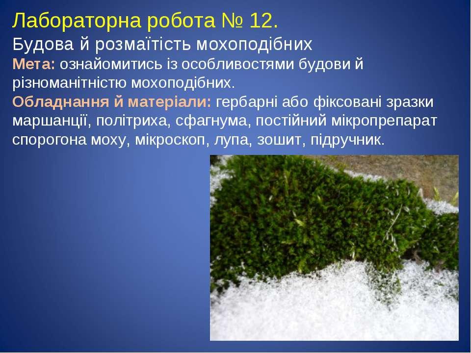 Лабораторна робота № 12. Будова й розмаїтість мохоподібних Мета: ознайомитись...