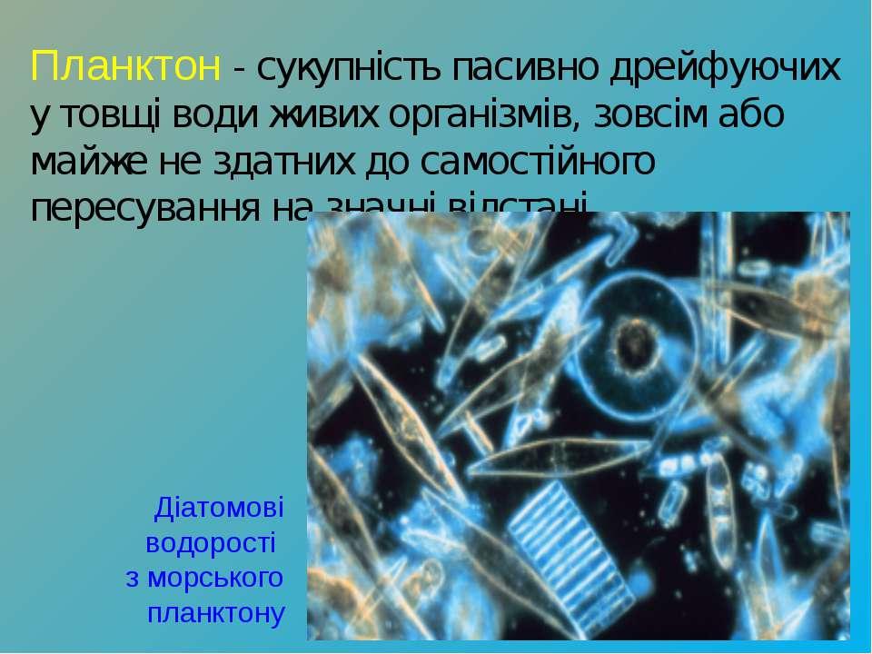 Планктон- сукупність пасивно дрейфуючих у товщі води живих організмів, зовсі...