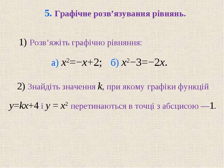 5. Графічне розв'язування рівнянь. 2) Знайдіть значення k, при якому графіки ...