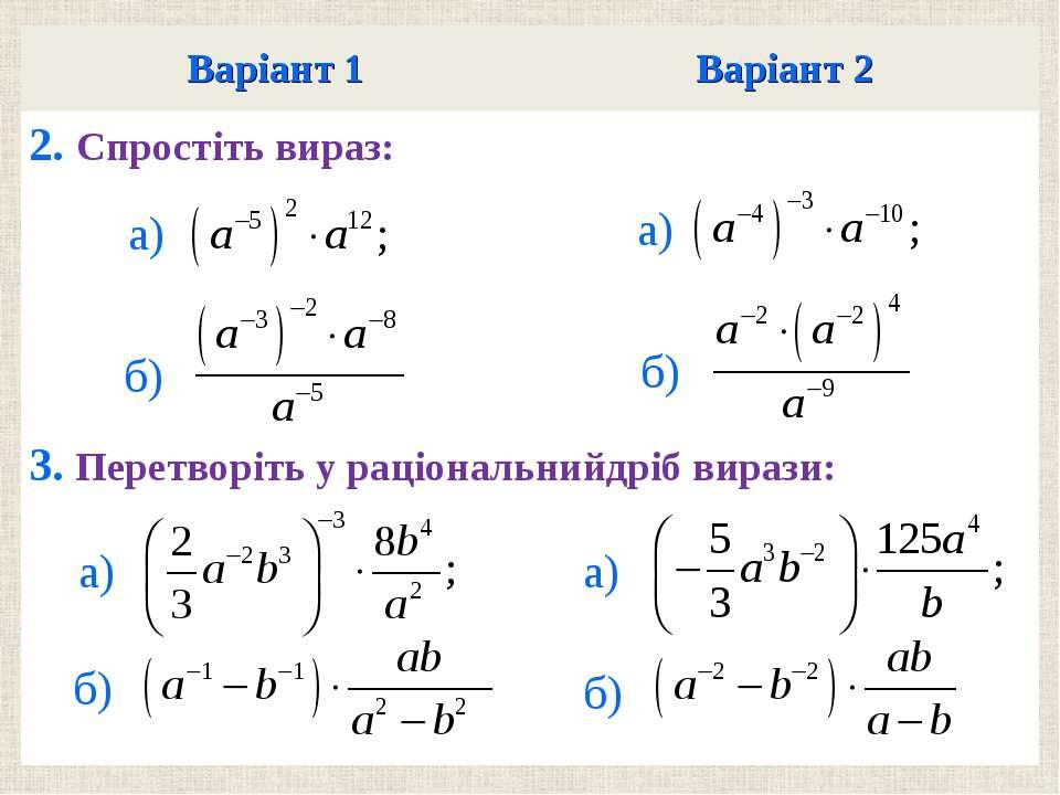 Варiант 1 Варiант 2 2. Спростiть вираз: 3. Перетворiть у рацiональнийдрiб вир...