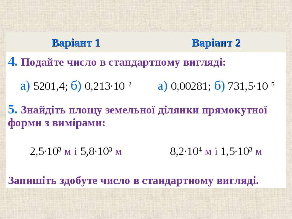 Варiант 1 Варiант 2 4. Подайте число в стандартному виглядi: а) 5201,4; б) 0,...
