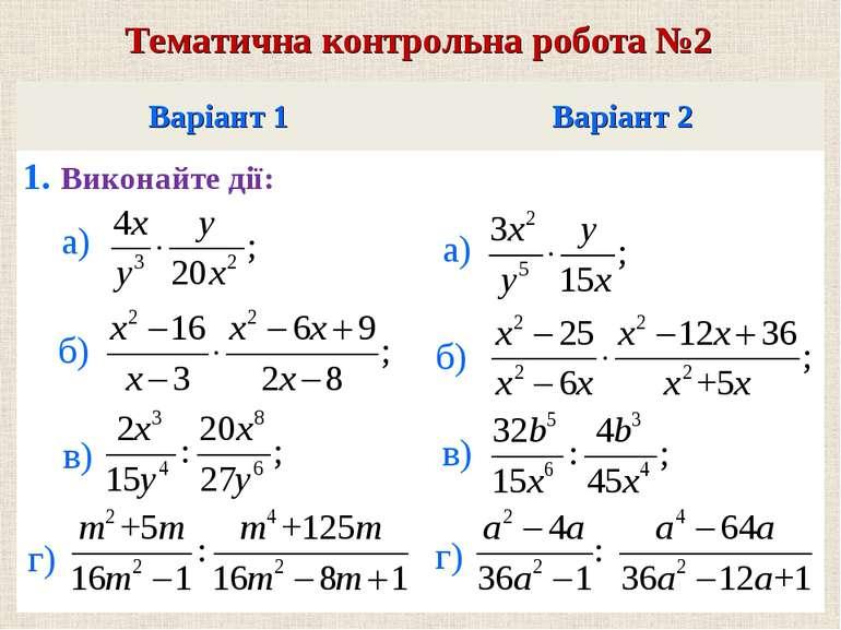 Варiант 1 Варiант 2 1. Виконайте дiї: