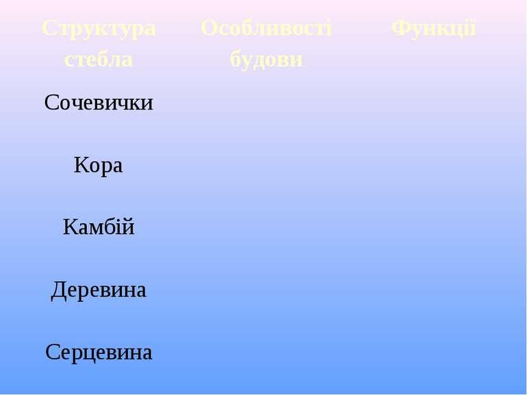 Структура стебла Особливості будови Функції Сочевички Кора Камбій Деревина Се...