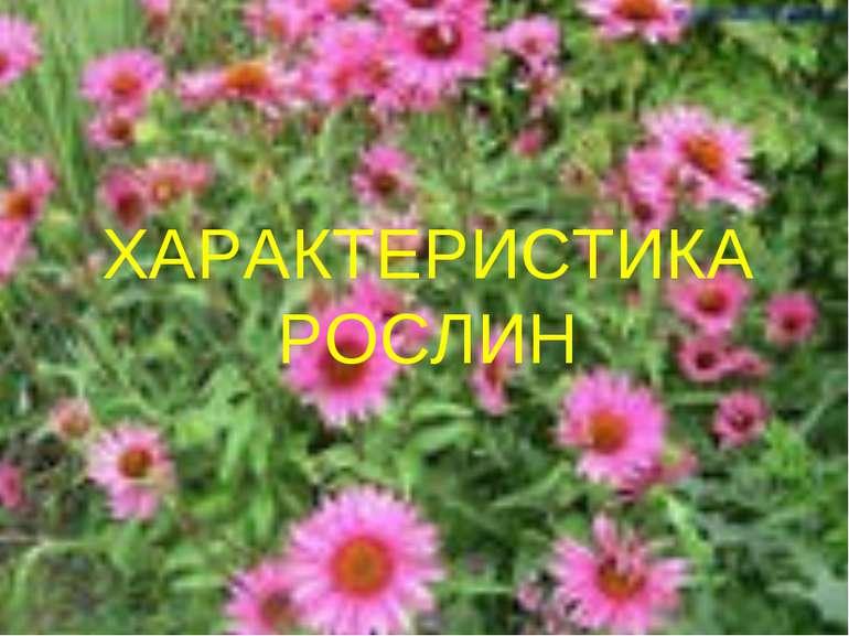 ХАРАКТЕРИСТИКА РОСЛИН