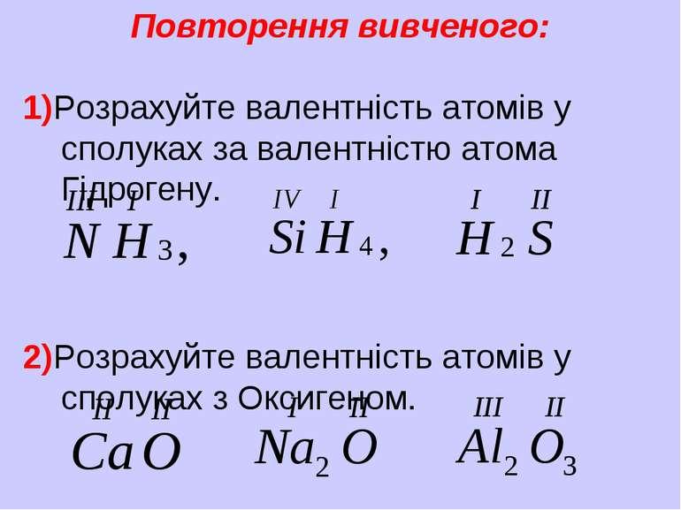 Повторення вивченого: 1)Розрахуйте валентність атомів у сполуках за валентніс...
