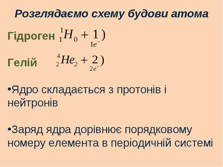 Розглядаємо схему будови атома Гідроген Гелій Ядро складається з протонів і н...
