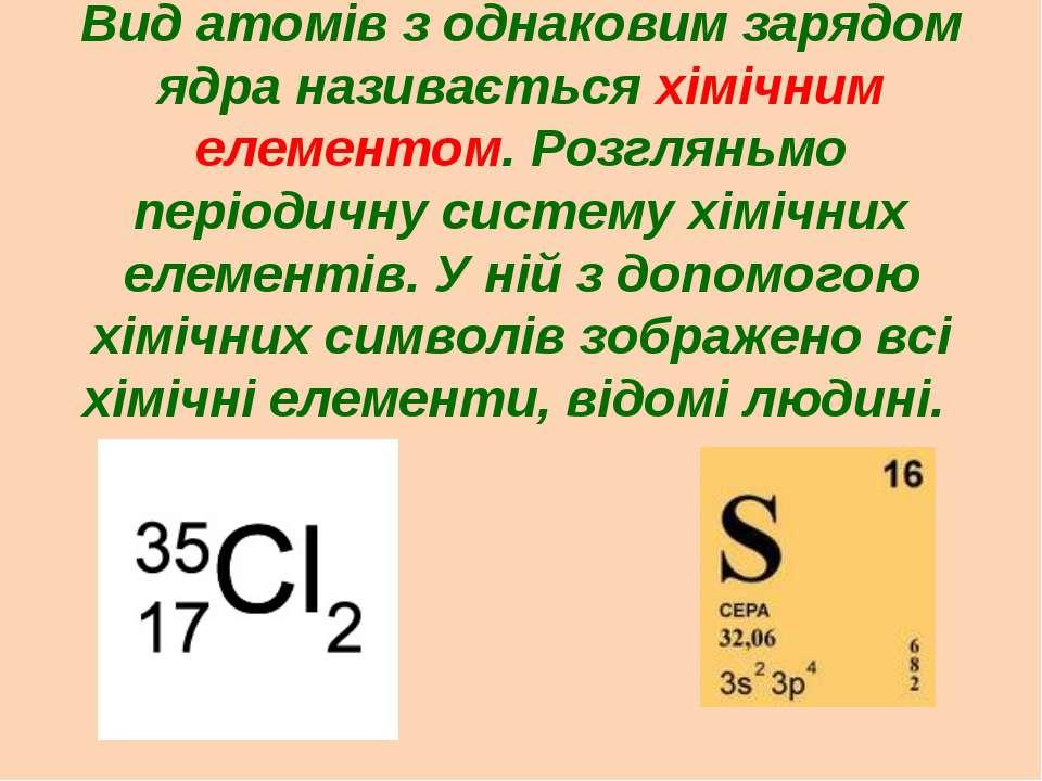 Вид атомів з однаковим зарядом ядра називається хімічним елементом. Розгляньм...