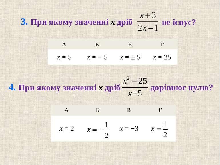 А Б В Г x = 2 x = −3 А Б В Г x = 5 x = − 5 x = ± 5 x = 25