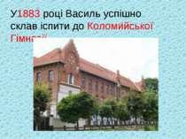 У1883 році Василь успішно склав іспити до Коломийської Гімназії.