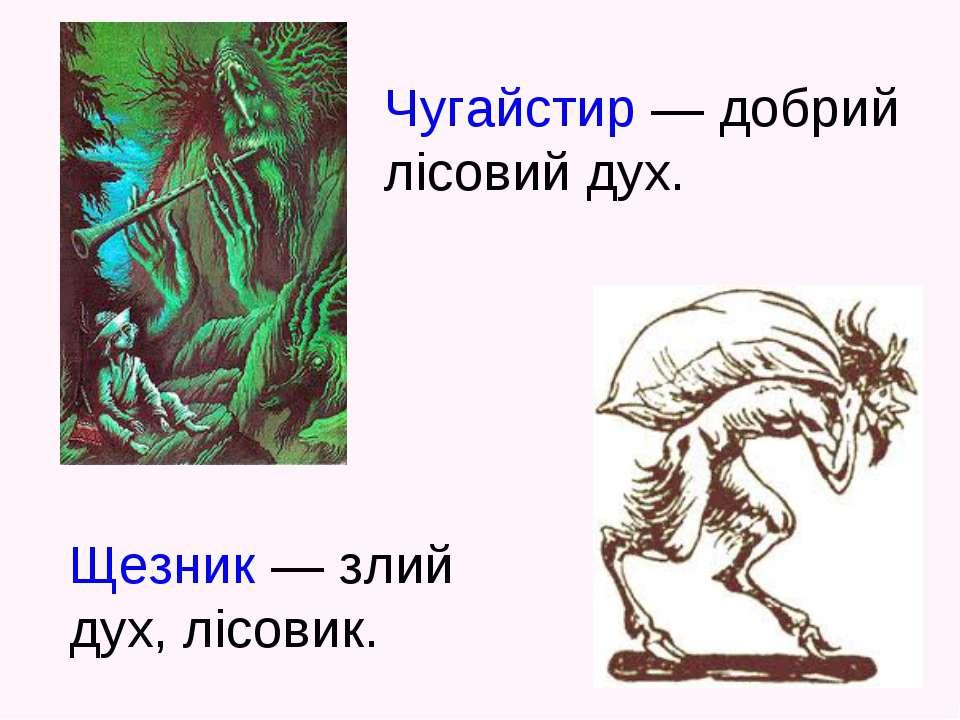 Чугайстир — добрий лісовий дух. Щезник — злий дух, лісовик.