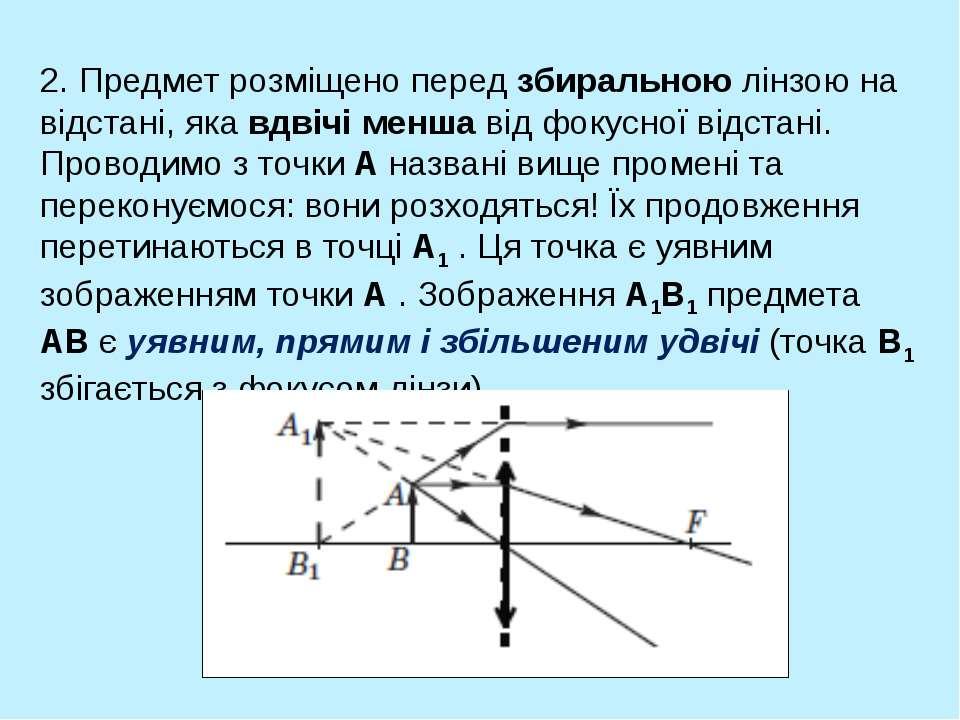 2. Предмет розміщено перед збиральною лінзою на відстані, яка вдвічі менша ві...