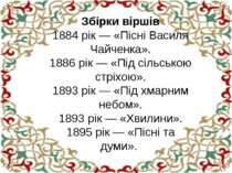 Збірки віршів 1884 рік — «Пісні Василя Чайченка». 1886 рік — «Під сільською с...