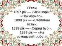 П'єси 1897 рік — «Ясні зорі», «Нахмарило». 1898 рік — «Степовий гість». 1899 ...
