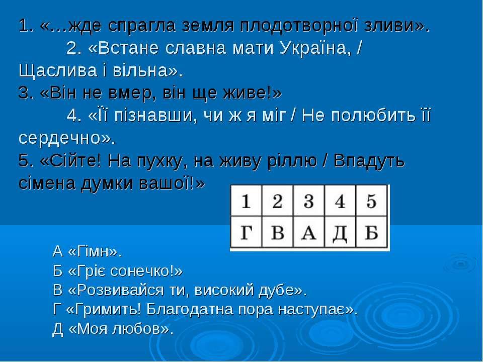 1. «…жде спрагла земля плодотворної зливи». 2. «Встане славна мати Україна, /...