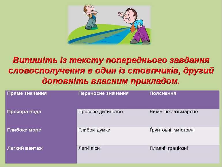 Випишіть із тексту попереднього завдання словосполучення в один із стовпчиків...
