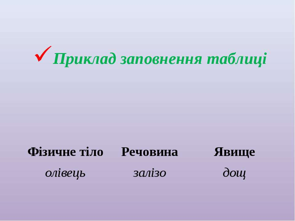 Приклад заповнення таблиці Фізичне тіло Речовина Явище олівець залізо дощ