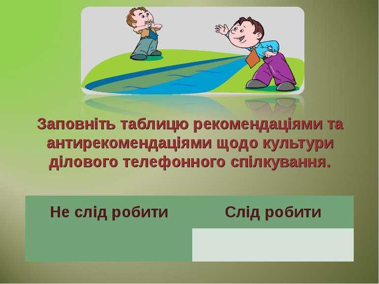 Заповніть таблицю рекомендаціями та антирекомендаціями щодо культури ділового...