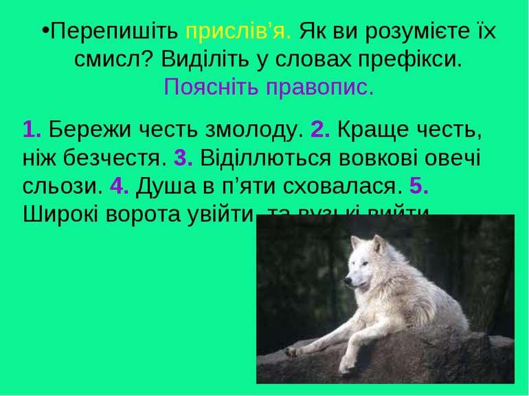 1. Бережи честь змолоду. 2. Краще честь, ніж безчестя. 3. Віділлються вовкові...