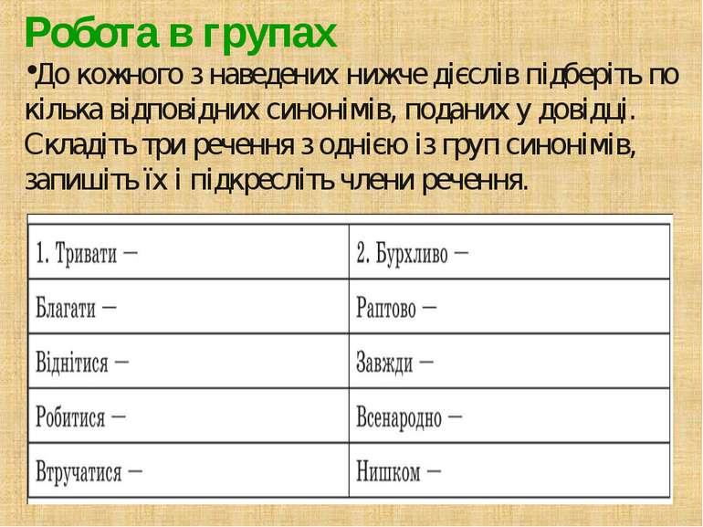 Робота в групах До кожного з наведених нижче дієслів підберіть по кілька відп...