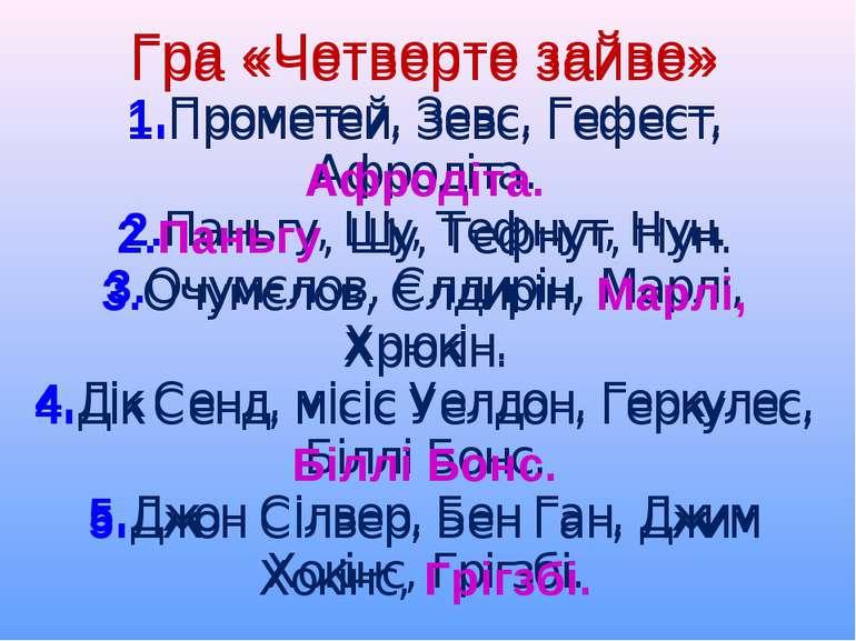 Гра «Четверте зайве» 1.Прометей, Зевс, Гефест, Афродіта. 2.Паньгу, Шу, Тефнут...