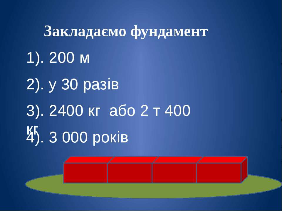 Закладаємо фундамент 1). 200 м 2). у 30 разів 3). 2400 кг або 2 т 400 кг 4). ...