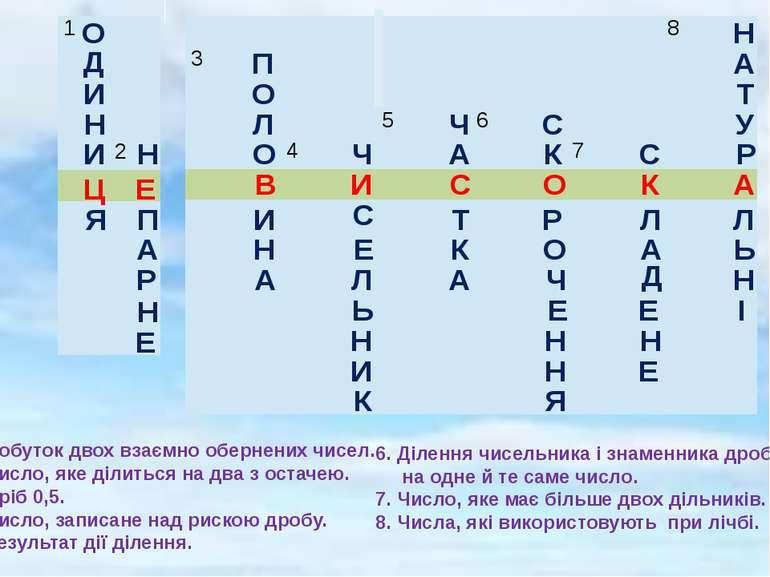 О 1. Добуток двох взаємно обернених чисел. 2. Число, яке ділиться на два з ос...