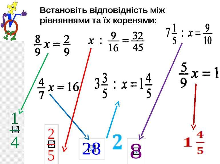 Встановіть відповідність між рівняннями та їх коренями: