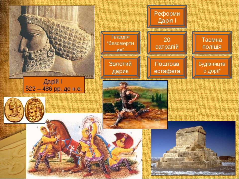 """Дарій І 522 – 486 рр. до н.е. Реформи Дарія І Гвардія """"безсмертних"""" 20 сатрап..."""