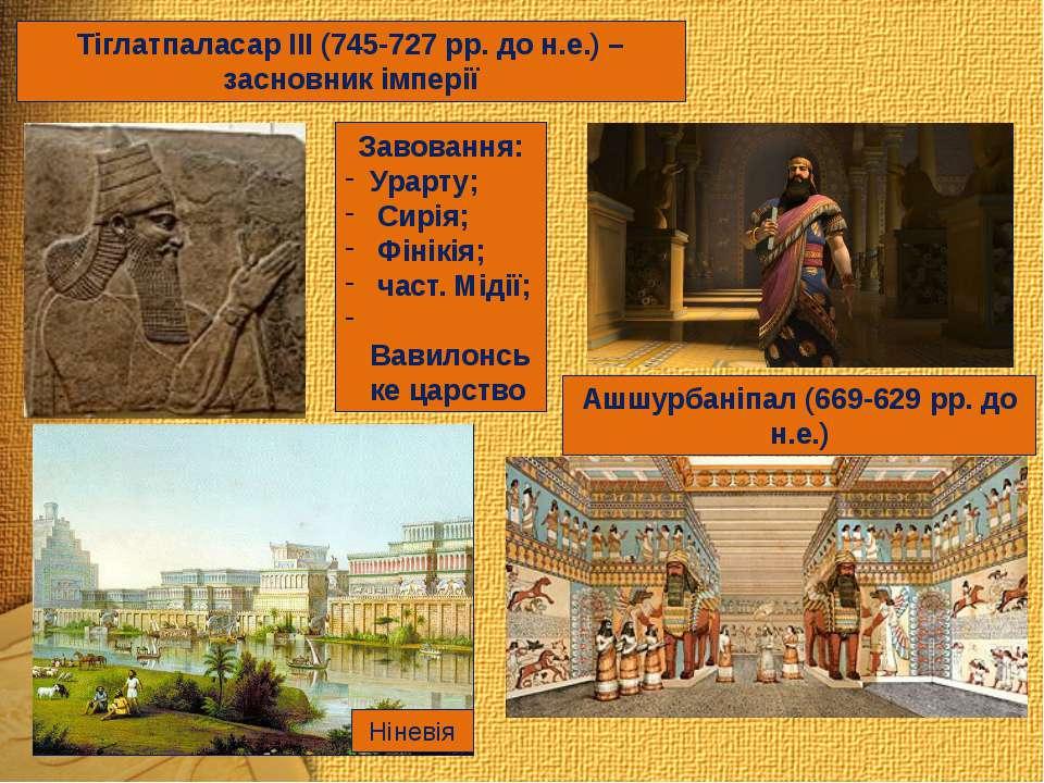 Тіглатпаласар ІІІ (745-727 рр. до н.е.) – засновник імперії Завовання: Урарту...
