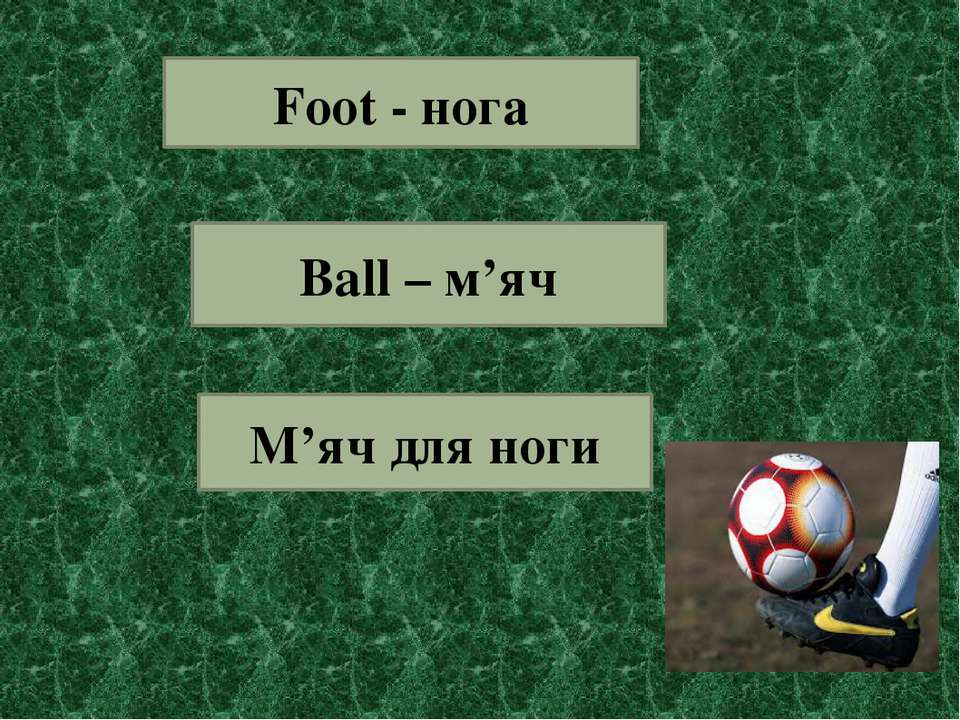 Foot - нога Ball – м'яч М'яч для ноги