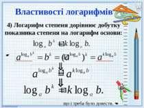 4) Логарифм степеня дорівнює добутку показника степеня на логарифм основи: Вл...