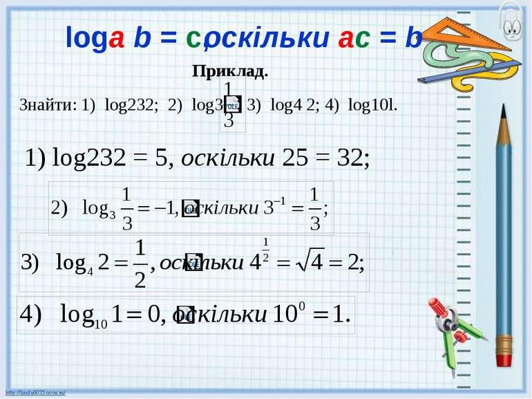 Приклад. 1) log232 = 5, оскільки 25 = 32; logа b = с, оскільки ас = b Знайти:...