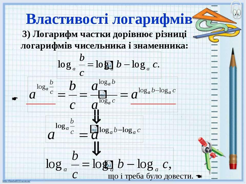 Властивості логарифмів 3) Логарифм частки дорівнює різниці логарифмів чисельн...