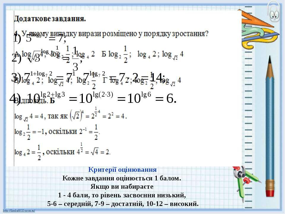 3. Користуючись основною логарифмічною тотожністю, спростіть вираз: Критерії ...