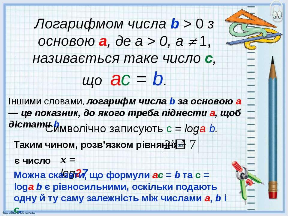 Логарифмом числа b > 0 з основою а, де а > 0, а 1, називається таке число с, ...