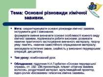 Тема: Основні різновиди хімічної завивки. Мета: охарактеризувати основні різн...