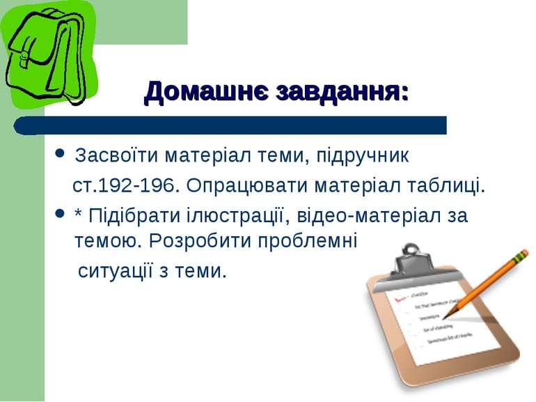 Домашнє завдання: Засвоїти матеріал теми, підручник ст.192-196. Опрацювати ма...