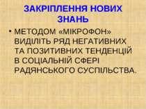 ЗАКРІПЛЕННЯ НОВИХ ЗНАНЬ МЕТОДОМ «МІКРОФОН» ВИДІЛІТЬ РЯД НЕГАТИВНИХ ТА ПОЗИТИВ...
