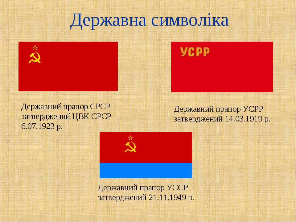 Державна символіка Державний прапор СРСР затверджений ЦВК СРСР 6.07.1923 р. Д...