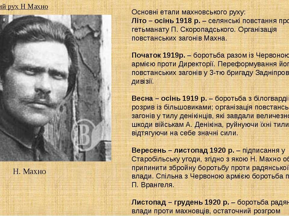 Н. Махно Основні етапи махновського руху: Літо – осінь 1918 р. – селянські по...