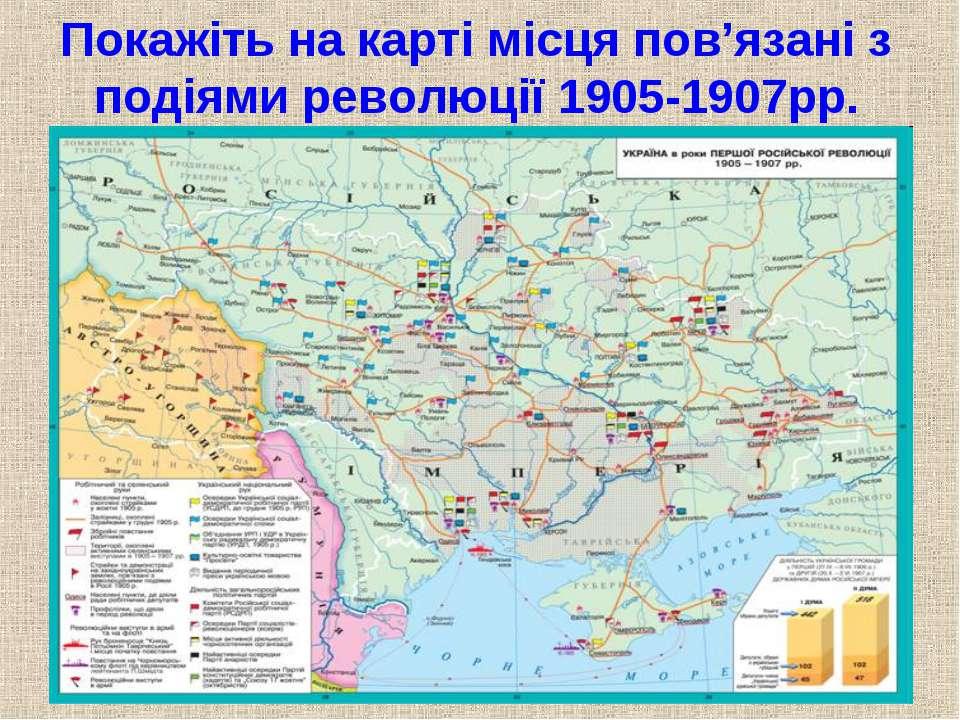 Покажіть на карті місця пов'язані з подіями революції 1905-1907рр.