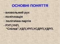 """ОСНОВНІ ПОНЯТТЯ - визвольний рух - політизація політична партія - РУП,УНП, """"С..."""